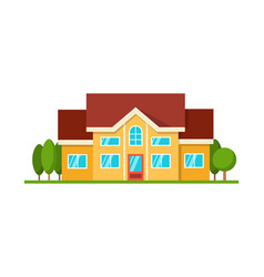 Modern cottage house front view isolated vector