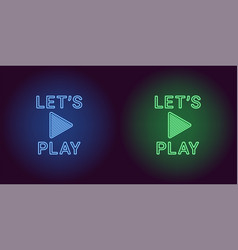 Neon icon of blue and green lets play vector