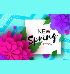 New spring collection paper cut flower 8 march vector