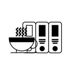 Organizing folder with coffee vector