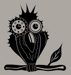 owl sits on a branch vector image