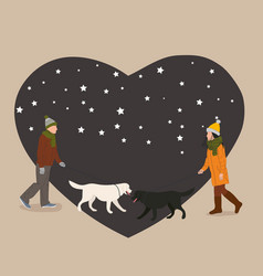 Peoples walk with dogs vector