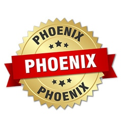 Phoenix round golden badge with red ribbon vector