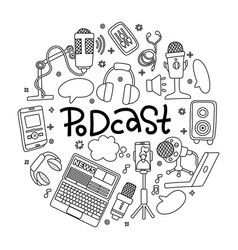 Podcast doodle round badge with electronic vector