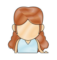 portrait little girl young person cartoon vector image