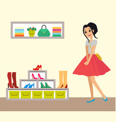 Pretty smiling girl in red skirt clothes shop vector