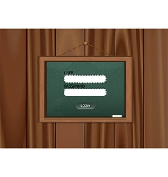 Realistic blackboard login on wooden background vector