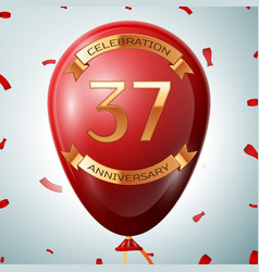 red balloon with golden inscription 37 years vector image