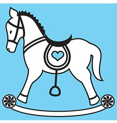 Rocking horse on blue background vector image