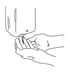 Schematic hand treatment with an automatic vector