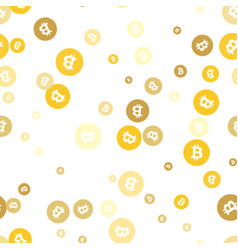 seamless pattern with gold bitcoins modern vector image