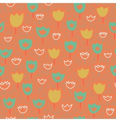 seamless pattern with tulips and grass Pastel vector image