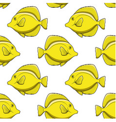 seamless pattern with yellow zebrasoma fish vector image