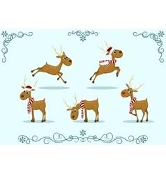set deer christmas vector image