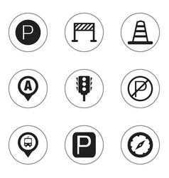 Set of 9 editable location icons includes symbols vector