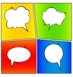 Set of comic speech bubble cartoon vector