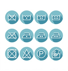 Set of flat instruction laundry icons washing vector image