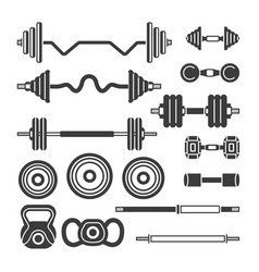 Set of gym equipment - modern monochrome vector