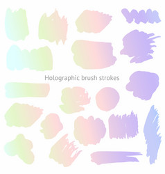 Set of holographic brush strokes imitation of a vector