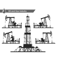 Set of oil pumps and rig silhouettes vector image