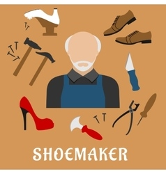 Shoemaker with shoes and tools flat icons vector