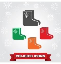 Socks felt boots icon Christmas holiday winter vector