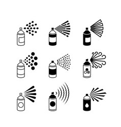 Spray aerosol bottle graffiti can icons vector