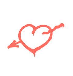 sprayed heart pierced an arrow vector image