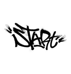 sprayed start font graffiti with overspray vector image