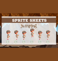 sprite sheet jumping template vector image