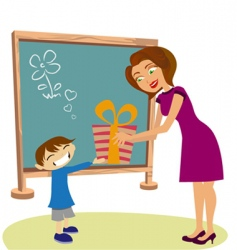 Student giving gift vector