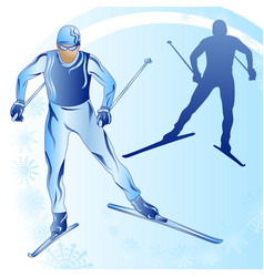Stylized figure of a skier on a blue background vector