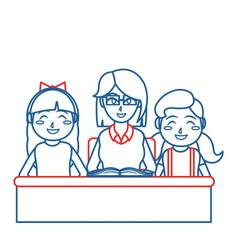 Teacher and girls design vector