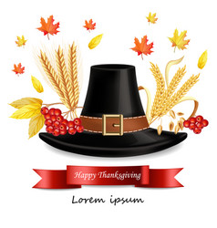 thanksgiving card with traditional hat vector image