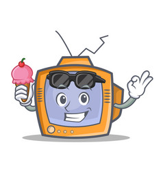 tv character cartoon object with ice cream vector image