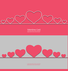 valentines card with line hearts for your design vector image