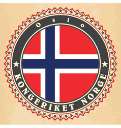 Vintage label cards of Norway flag vector image
