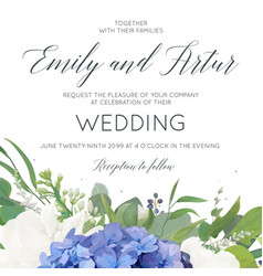 wedding invite card design with hydrangea flowers vector image