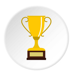 Winning gold cup icon circle vector