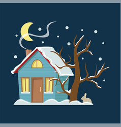 winter mountain landscape background flat with vector image