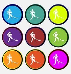 Winter sport Hockey icon sign Nine multi colored vector