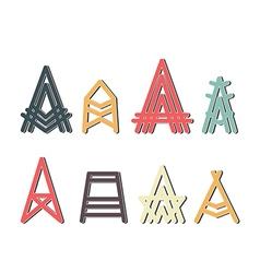 capital letter A design set vector image