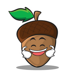 grinning acorn cartoon character style vector image vector image