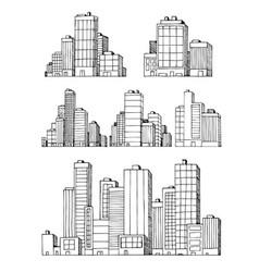 hand drawn urban buildings skyscrapers vector image