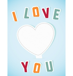 Paper heart banner with text I love you vector image vector image