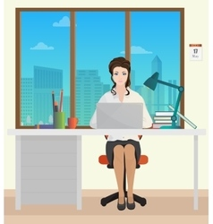 Woman Secretary in office interior Businesswoman vector image