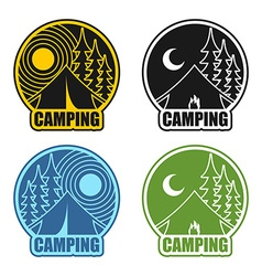 Camping logo day and night Landscape with tent and vector image vector image