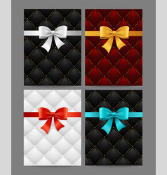 card silk ribbon bow and quilted background set vector image vector image