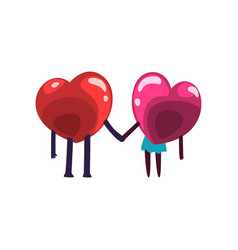 cute red and pink hearts characters holding hands vector image