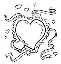 doodle heart fancy vector image vector image
